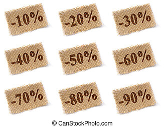 Fabric tag with discounts set - Brown fabric tag with marked...