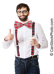 Man wearing suspenders with glass of milk - Funny man...