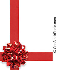 Red Bow Over White with clipping path for easy background...