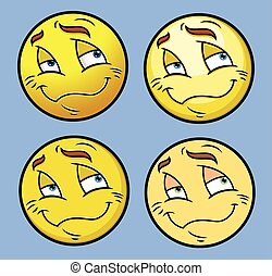 Calm Emoji Smiley Set - Calm Emoji Smiley Character Face...