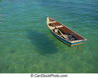 small row boat floating on the water