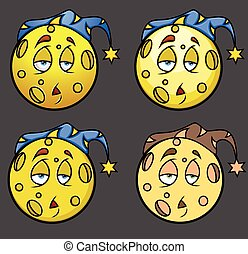Lazy Sleepy Moon in night cap Emoji Vector Illustration