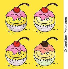 Cartoon Cup Cake Emoticon Set