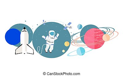 Exploration New Planets Icon Flat Isolated - Exploration new...