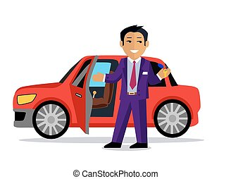 Illustration of Man Buys a New Car - Illustration of a man...