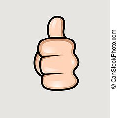 Thumbs Up Vector Sign - Human Hand Showing Thumbs Up Vector...