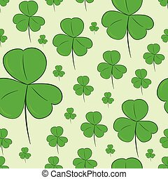 Seamless shamrocks on green - Seamless texture with...