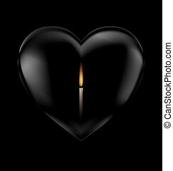 black heart and candle