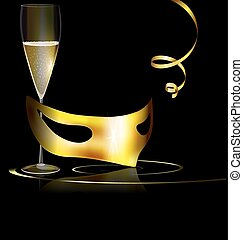 golden mask and wine - carnival golden half mask and glass...