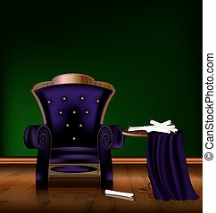 green purple room - the large purple armchair in the green...