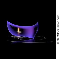 purple mask and candle - carnival purple half mask with...