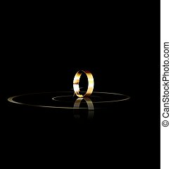 single golden ring - dark background and the single golden...