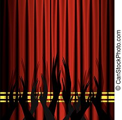 abstract theatre applouse - red theater curtain and an...