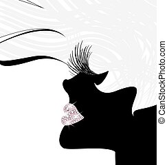white black head - abstract white-haired female head with...