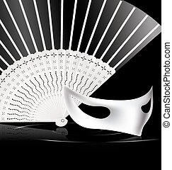 white halfmask and fan - dark background and carnival white...