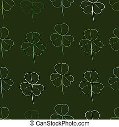 Seamless dark contours of shamrocks - Seamless texture with...