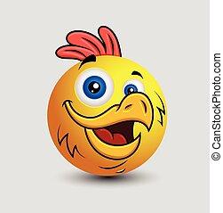 Cartoon Rooster Emoji Character - Cartoon Rooster Emoji...