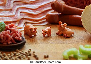 miniatura, porcos,