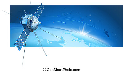 Satellite On The Orbit - Satellite On The Orbit On Blue...