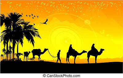 Camel Caravan and palms - Camel Caravan and Palms During The...
