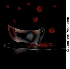 black mask and petals - dark background and carnival black...