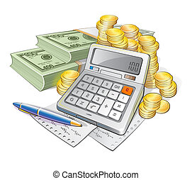 Calculator Pen Banknotes And Coins