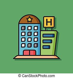 hotel building vector icon