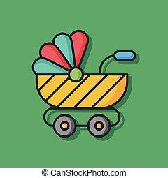 bebé, carruaje,  vector, icono