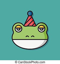 birthday frog vector icon
