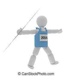 Javelin thrower puppet with sport shirt isolated over white,...