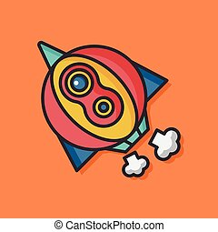 Spaceship rocket vector icon