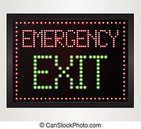 Emergency Exit LED digital Sign - Illustration of Emergency...