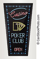 Retro sign with blue lights - Illustration of Retro sign...