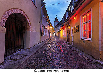 Tallin old town streets before sunrise Tallin, Estonia