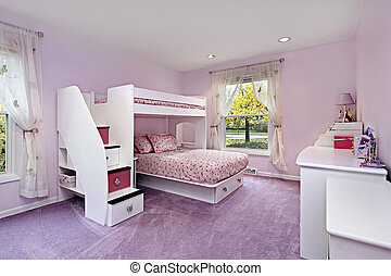 Girls room with bunk bed - Girls room in suburban home with...