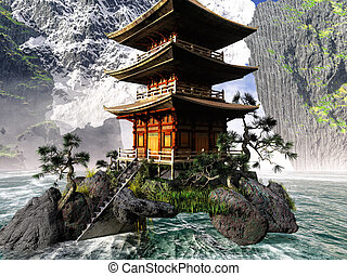 Buddhist Temple in rocky mountains - Buddhist Temple in the...