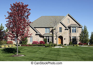 Brick home with arched entry - Large brick home in suburbs...