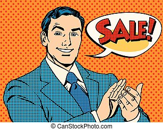 Businessman sale applause pop art retro style Man applauds...