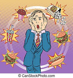 Fast food man unhealthy diet panic pop art retro style The...