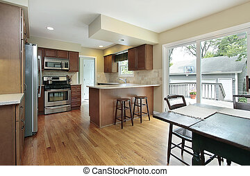 Kitchen with deck view