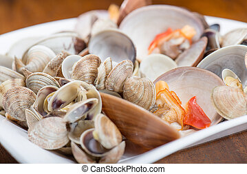 Fresh seafood, clams and cockles prepared in the dish