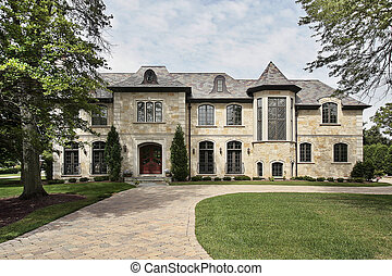 Stone home with turret - Luxury stone home in suburbs with...