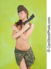 girl in garrison cap with gun - Topless girl in garrison cap...