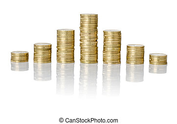 Pyramid of coins stacks on a white background