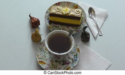Sponge cake and a cup of tea - Sponge cake for dessert and a...