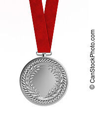 Blank silver medal with ribbon for second place championship...