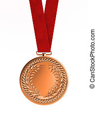 Bronze medal with ribbon for third place - Blank bronze...