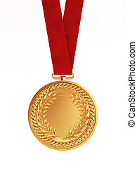 Blank golden medal with ribbon for first place championship...