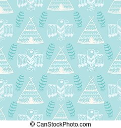 Native American Seamless Pattern with different tribal...
