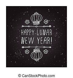 Chinese New Year hand drawn greeting card Poster template...